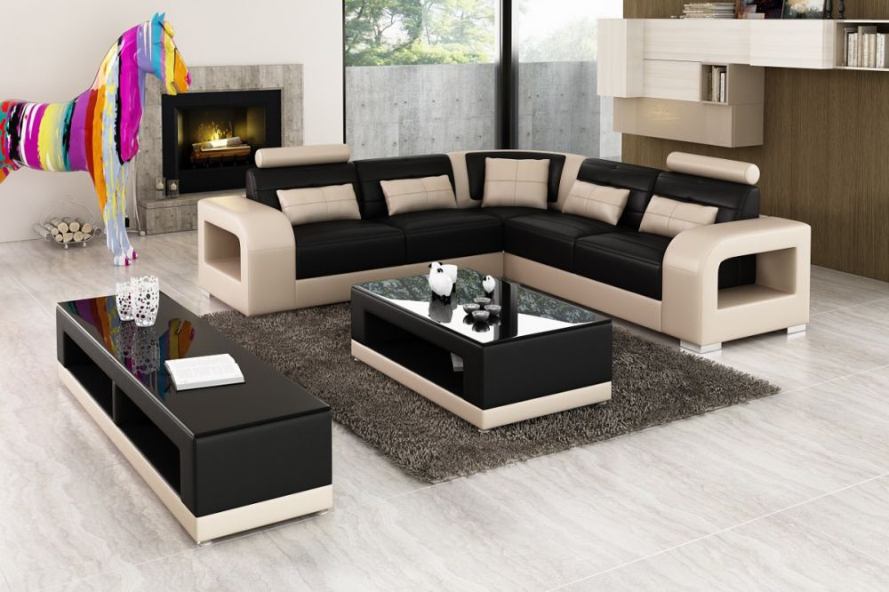 Home furniture Leisure Leather sofa set with wood