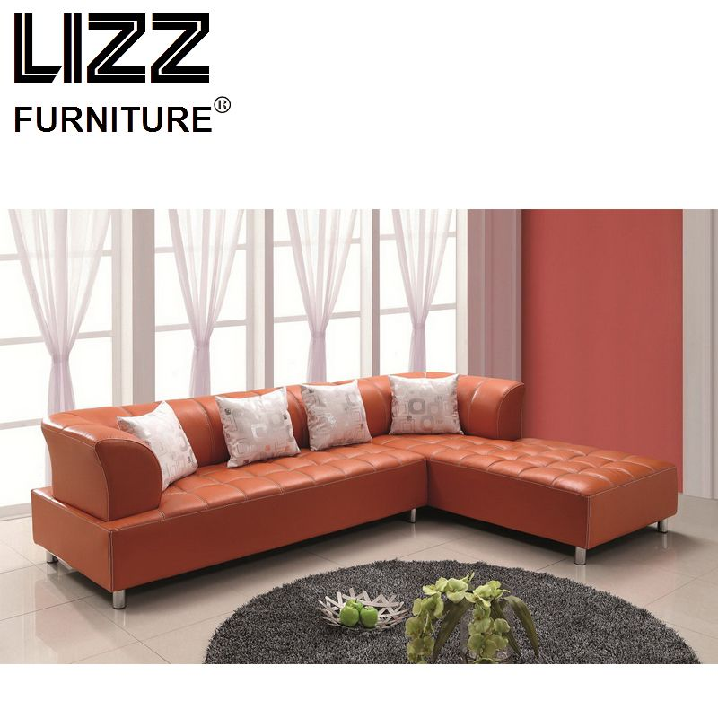 Modern Living Room L Shape Sectional Orange Leather Sofa