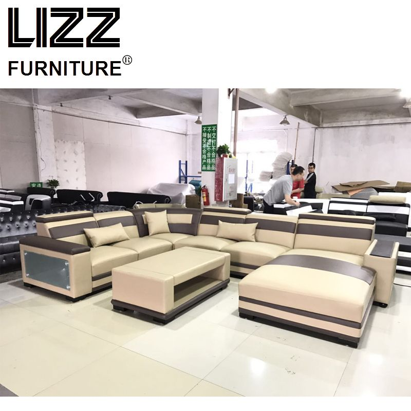 Modular Genuine Leather Sofa with LED and Coffee Table