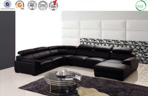 Home Furniture U Shape Leather Wooden Corner Sofa