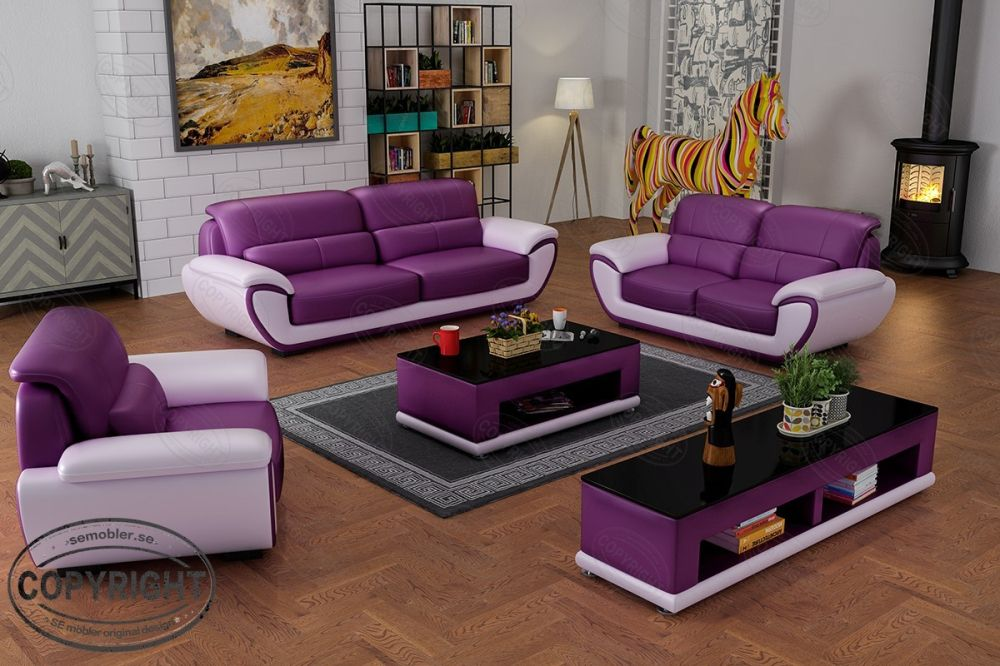 Contemporary Simple Design Modern Miami Leather Sofa Set