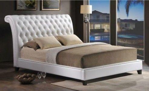 Tufted Modern Bed with Upholstered Headboard
