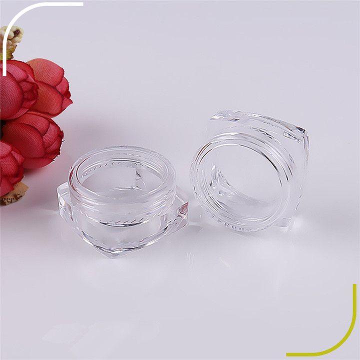 Sterilized plastic cream square jar clear transparent plastic box pot 3g 5g cheap portable travel cosmetic cream jar