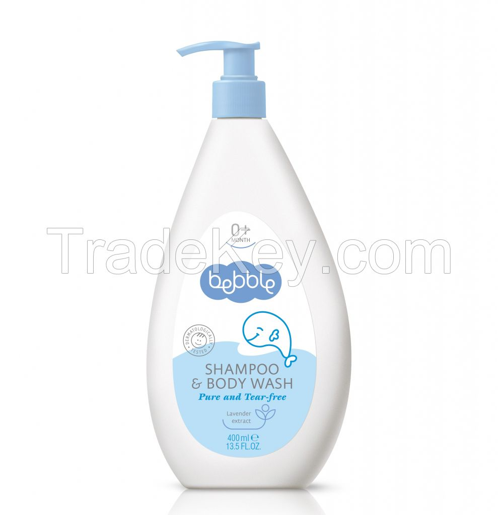 Bebble Baby Shampoo and Body Wash 400ml Bottle with Pump, Made in the EU
