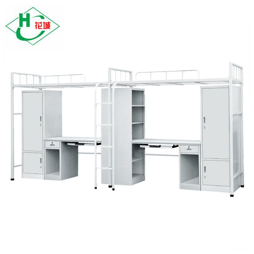 Student Dormitory Metal Bunk Bed With Desk and Army Bed