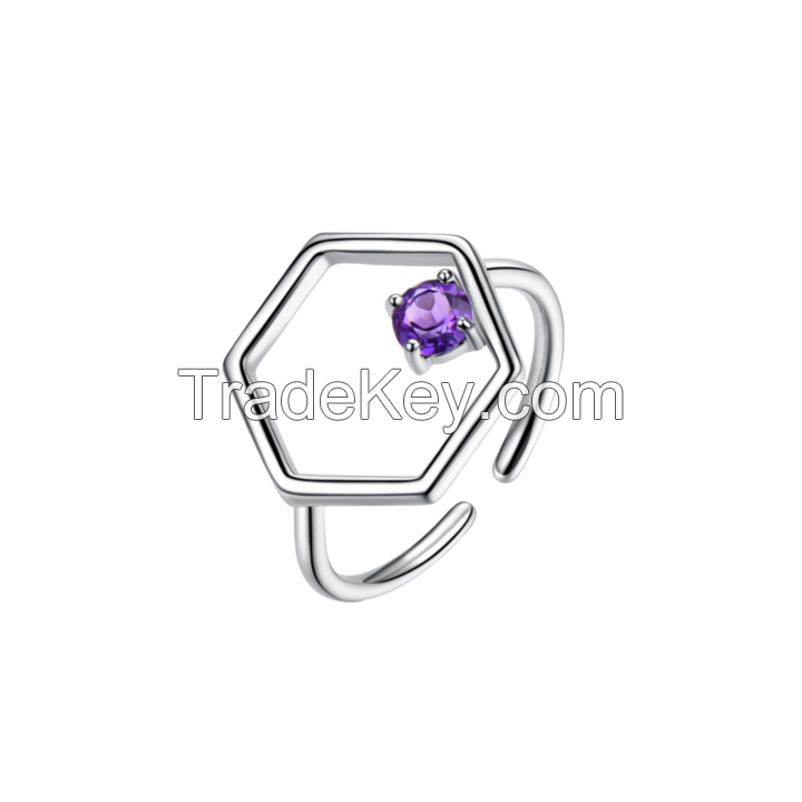 Silver Hexagonal Ring With Amethyst