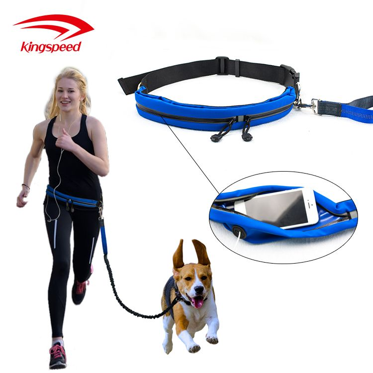 Multifunctional Pet Dog WalkingJogging Hiking Running Waist Pouch Belt with Bungee Hands Free Dog Leash
