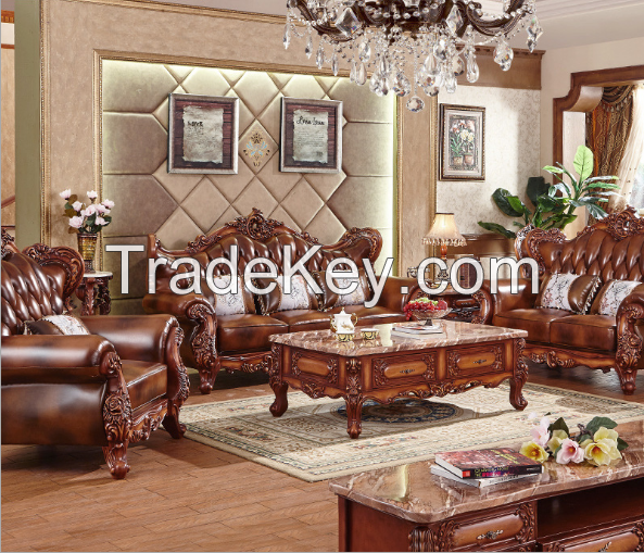 European solid  living room luxury leather sofa