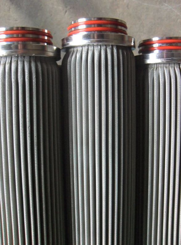 Stainless steel sintered folding filter elements / sintered metal filter cartridge for liquid industry