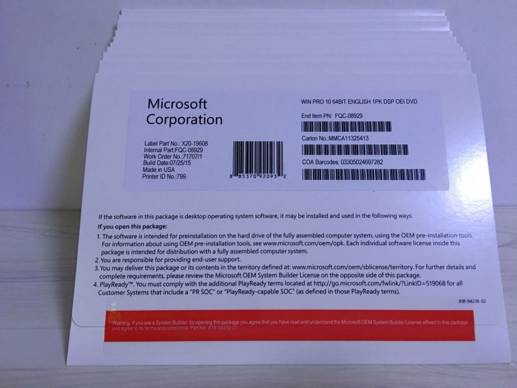 windows 7  8.1  10 pro oem keys, coa stickers and full package