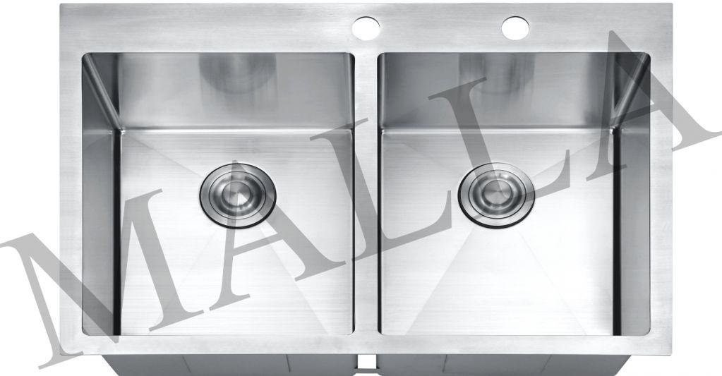 Handmade undermount stainlesss steel double bowl kitchen sink