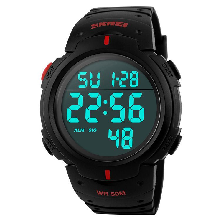 Outdoor dress digital watches 5ATM with Taiwan chip and imported EL lighting PU resin strap digital sport watch