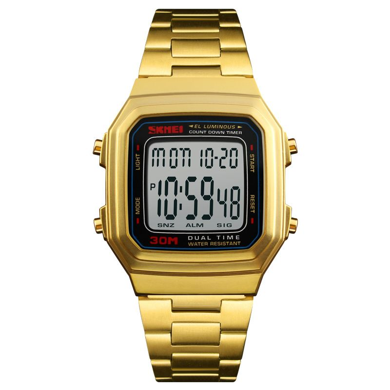 Best selling rose gold color digital mens watches stainless steel waterproof watches