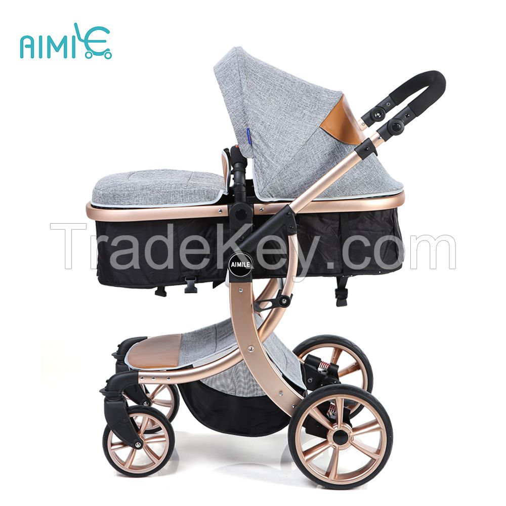 New modle aluminum alloy high view gold baby stroller