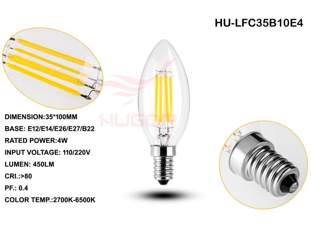 Led filament bulb C35/B10 2W