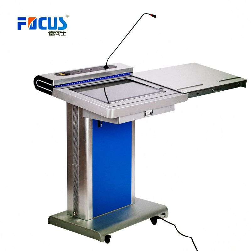 Electric podium with gooseneck microphone, LED light and touch PC