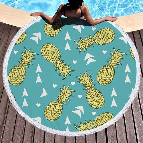 Circle Pineapple Printed beach towels
