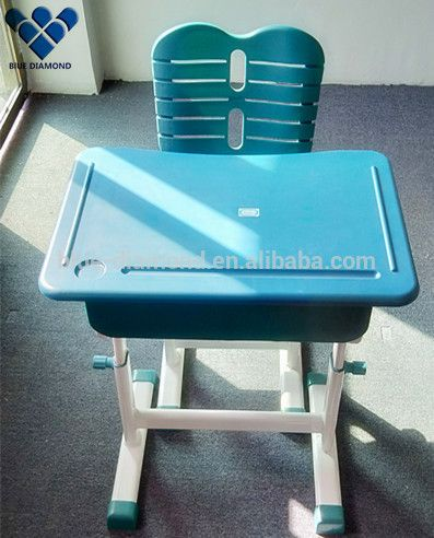 Comfortable plastic children desk and chair
