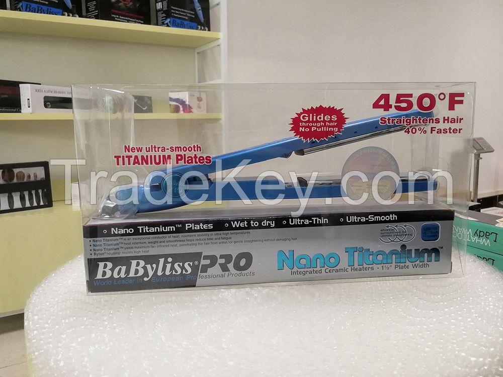 Babyliss Best selling 450 Fahrenheit flat iron hair straightener 1/4 inch nano titanium hair flat iron from China factory