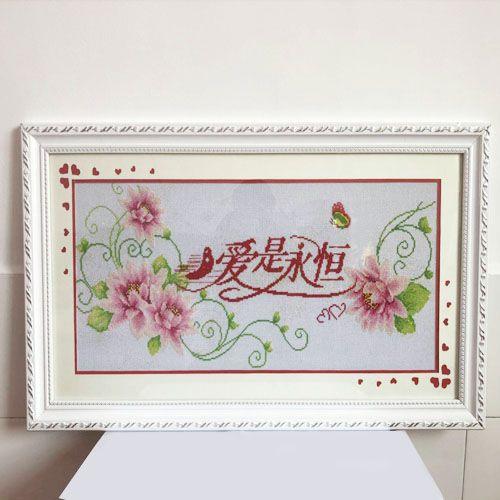 100% handwork Completed finished framed cross stitch of Forever love