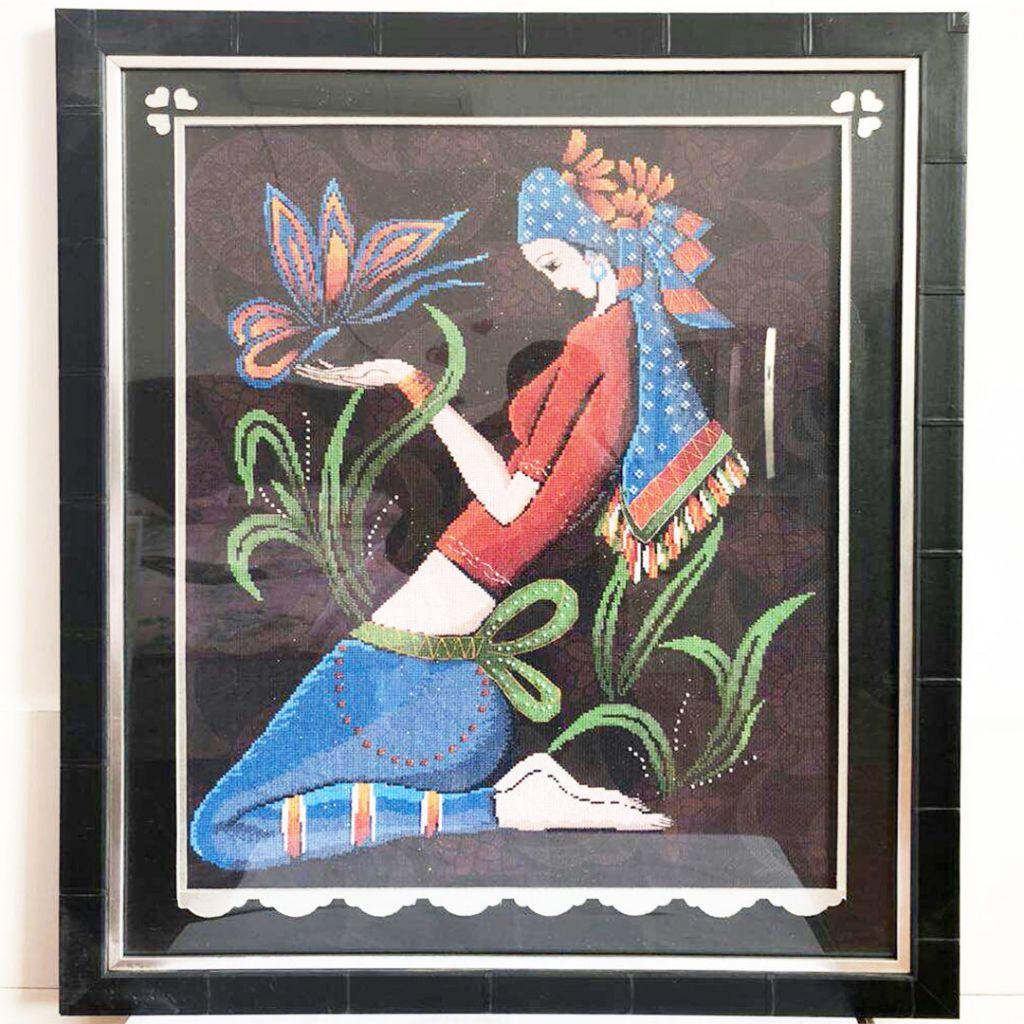 Pure handmade emboridery framed cross stitch of beautifull girl