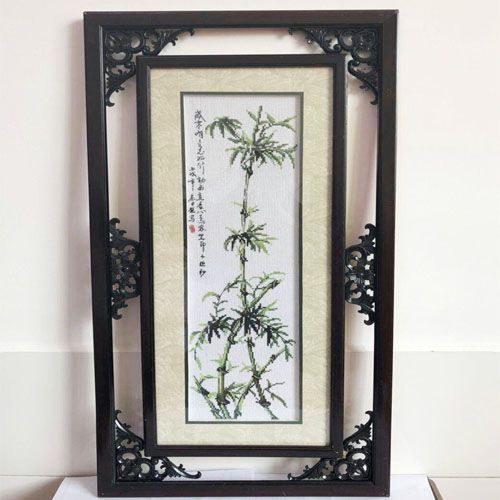 Completed finished china wind cross stitch embroidery of plant