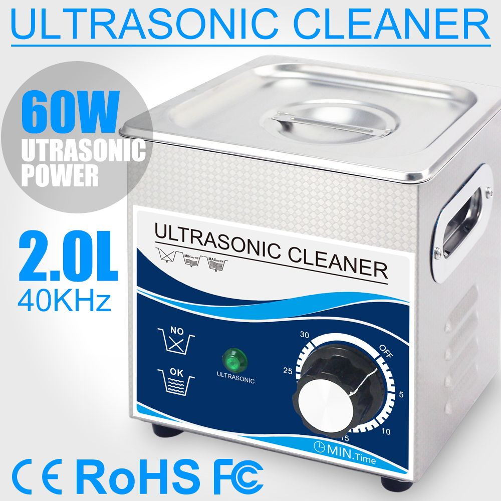 2L Ultrasonic Cleaner 60W Stainless Steel Bath 110V 220V Ultrasonic for Accessories Cleaning