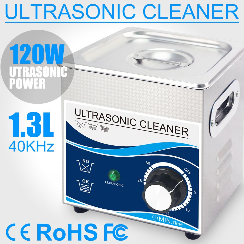 1.3L Ultrasonic Cleaner 120W Transducer Stainless Steel Bath 110V 220V Ultrasonic Cleaning Machine for Small Parts