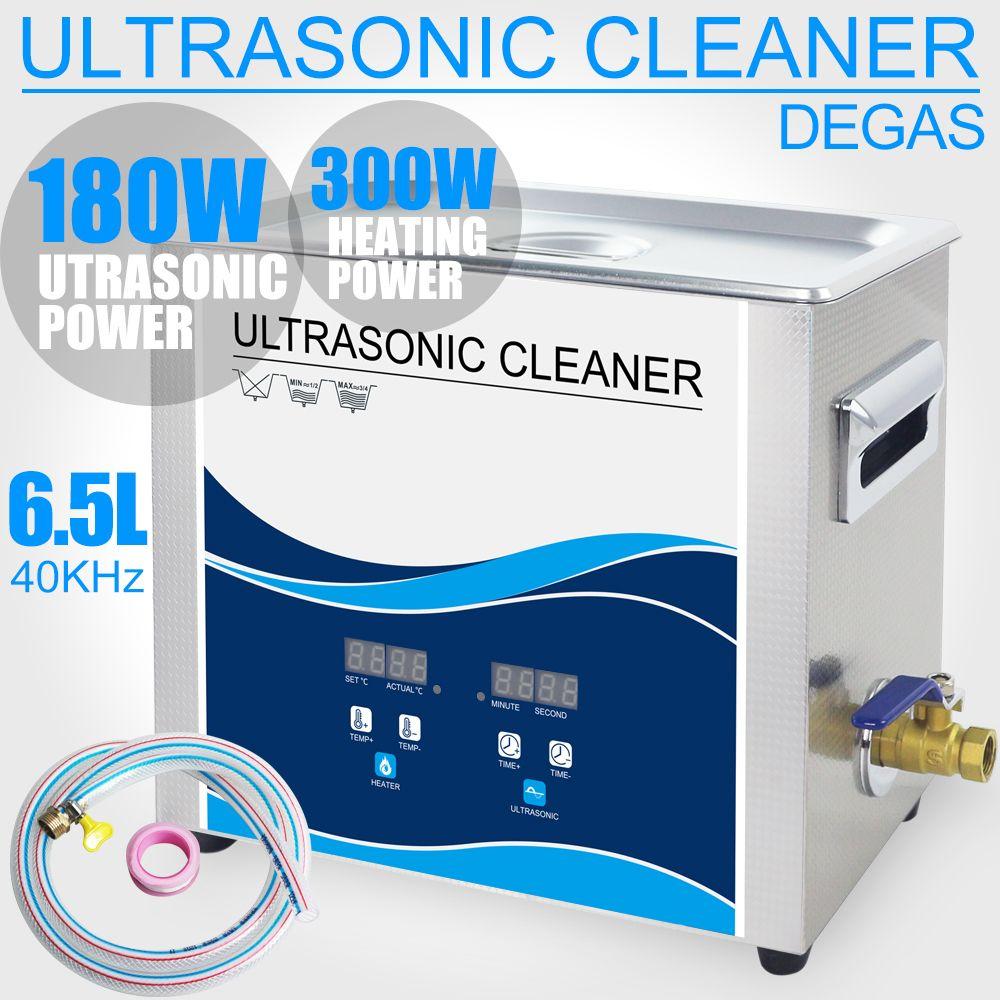180W 6.5L Digital Ultrasonic Cleaner with Timer Heater Degas 40KHZ 110V/220V Electronic Engine Instruments Ultrasonic Washer