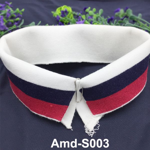 Cotton stripes rib knit collar and cuffs for jackets