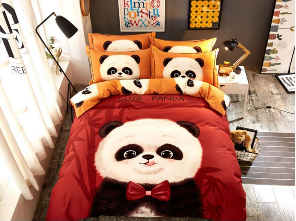 00 Cotton girls kids Grinding King Queen Size thick duvet cover panda Brown Lovely Bedding Set/Bedclothes Bed Flat Sheet set