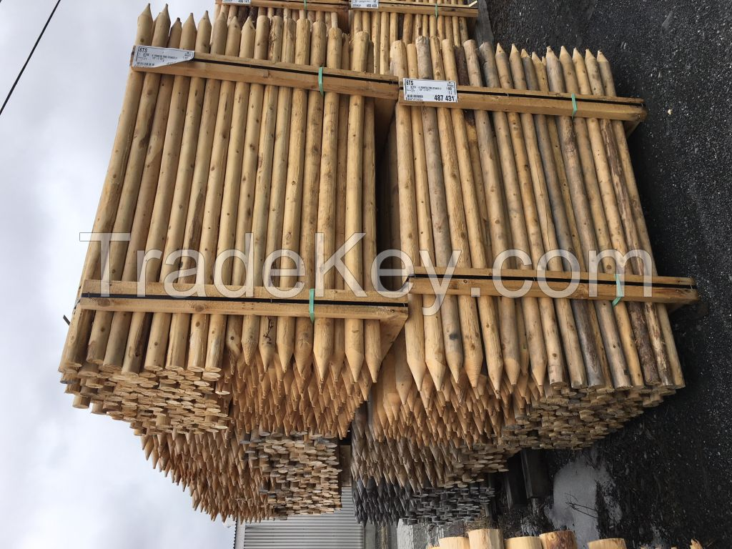 Northern white cedar posts pickets tree stakes wood logs