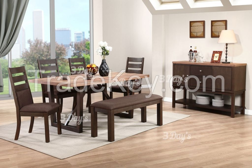 Malaysia Solid Rubberwood Torrie 1+6 Dining Set with Bench