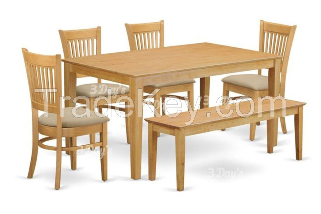 Malaysia Solid Rubberwood Iris1+6 Dining Set with Bench