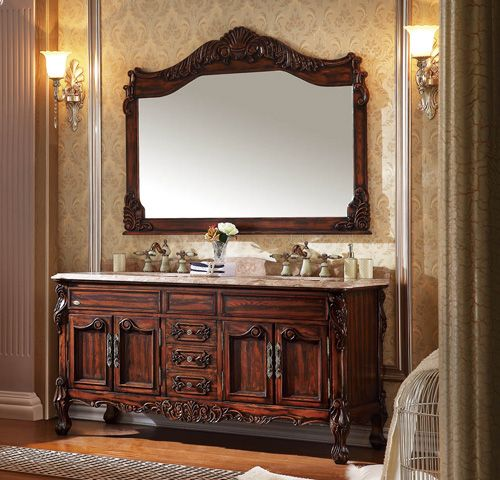 Hand Craved Design Double Antique Bathroom Vanity With Marble Counter-top No.812
