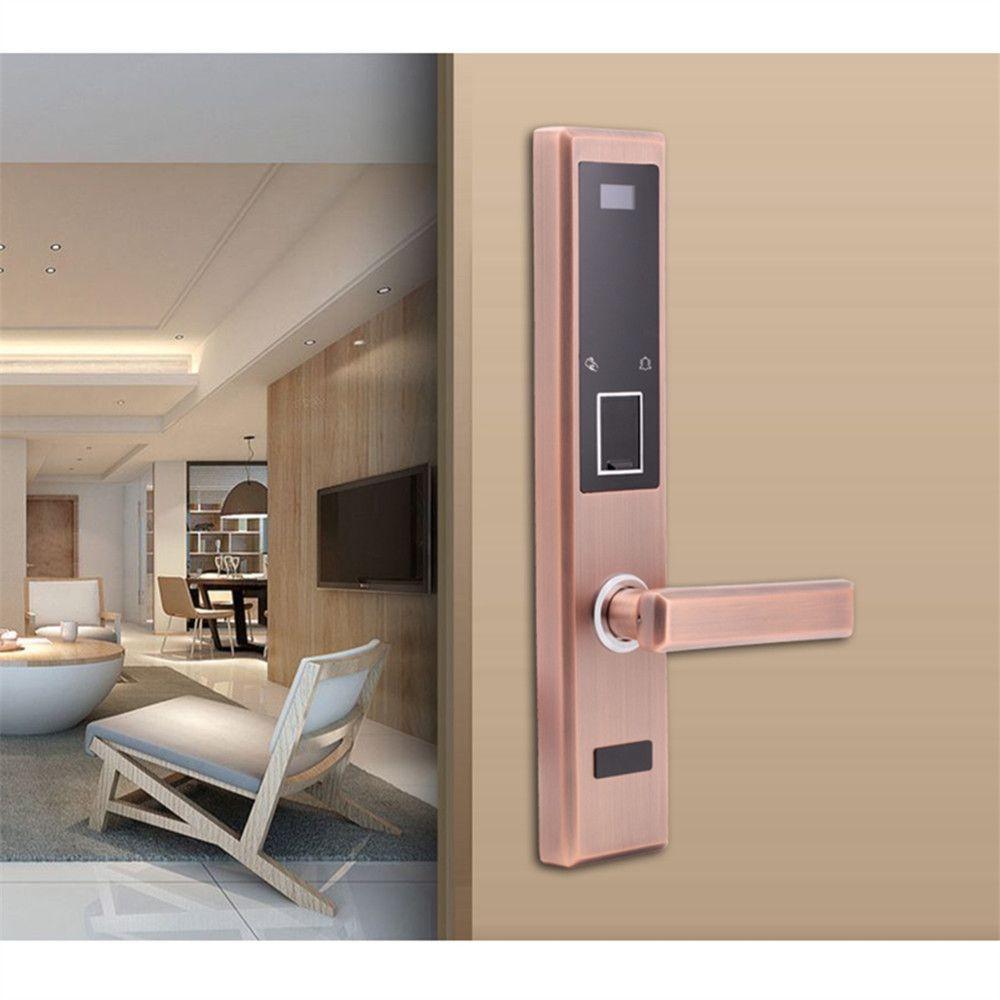 Four-in-One Keyless Fingerprint Password Card Key unlocking Door Lock for Apartment Resort School