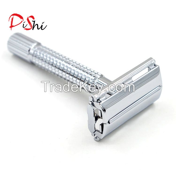 DISHI Long Handle Barber Pole Safety Razor,Double Edge Safety Razor Lined Chrome,Shaving Classic Collection Razor 175S Stainless