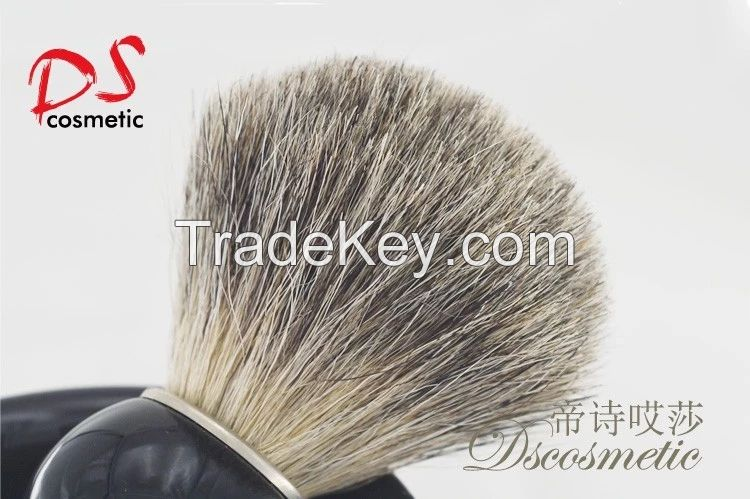badger hair shaving brush with black plastic handle