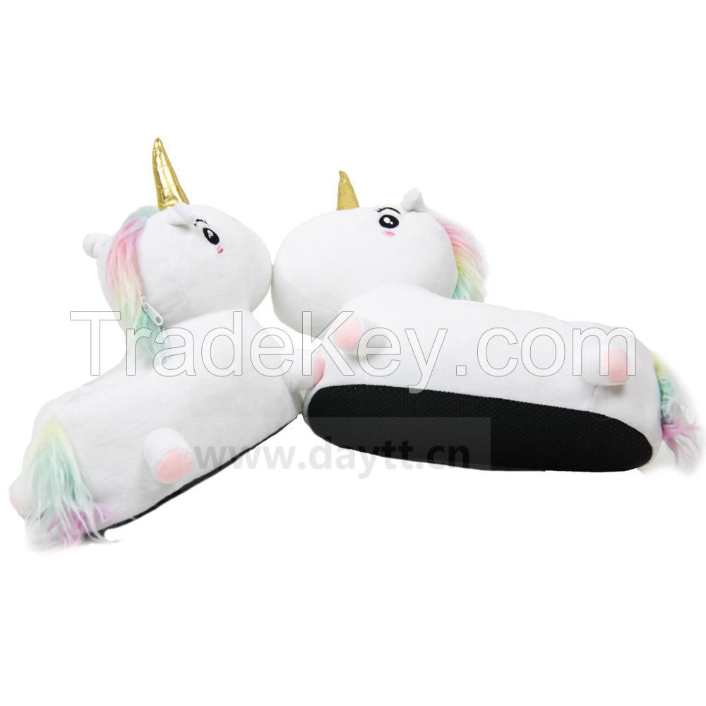 3D Macaroon hair color unicorn slippers rainbow short plush non-slip slippers for girls and women