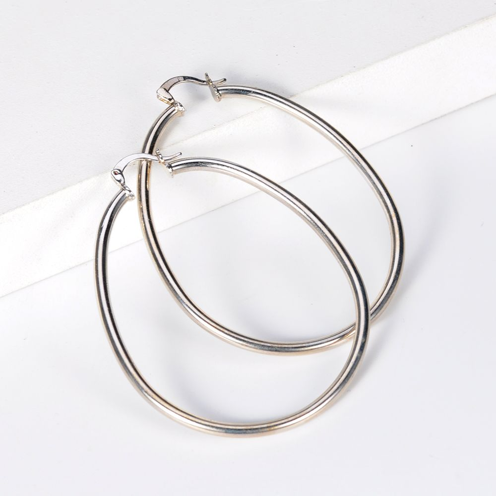 Best Selling Sterling Silver White Gold Plated 'Lock-It' CZ large Hoop earrings