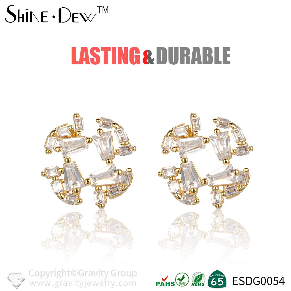 Gorgeous Wedding Bridal Earring Round Shaped Jewelry In Stock