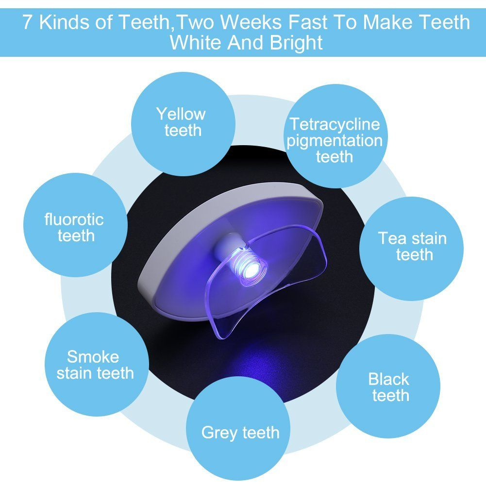USB Teeth Whitening Blue Light Tray, Tooth Whitener Accelerator Brighter Bleaching Teeth Gel Tool Set