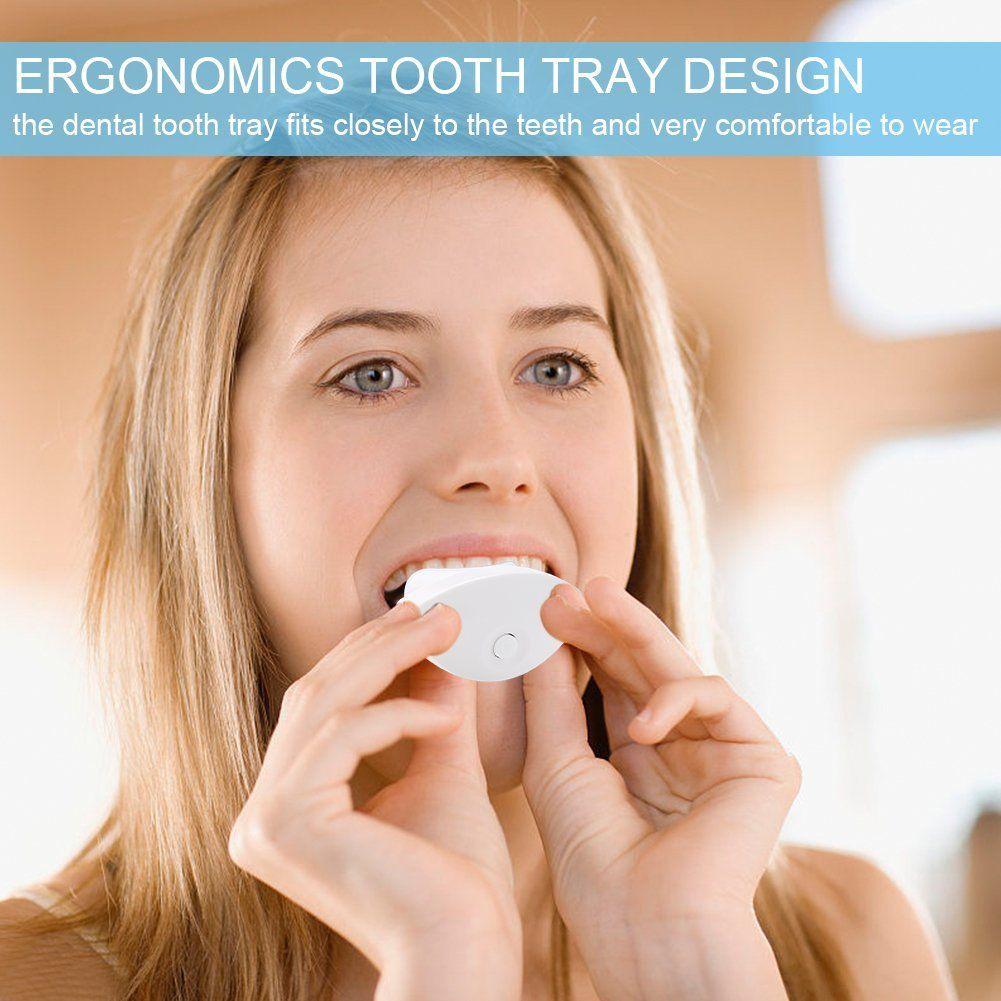 USB Teeth Whitening Blue Light Tray, Tooth Whitener Accelerator Brighter Bleaching Teeth Gel Tool Set