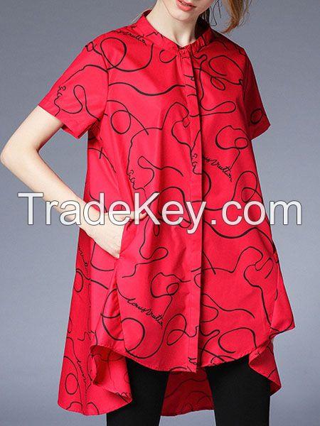 moozoi plus size printed short sleeve blouse