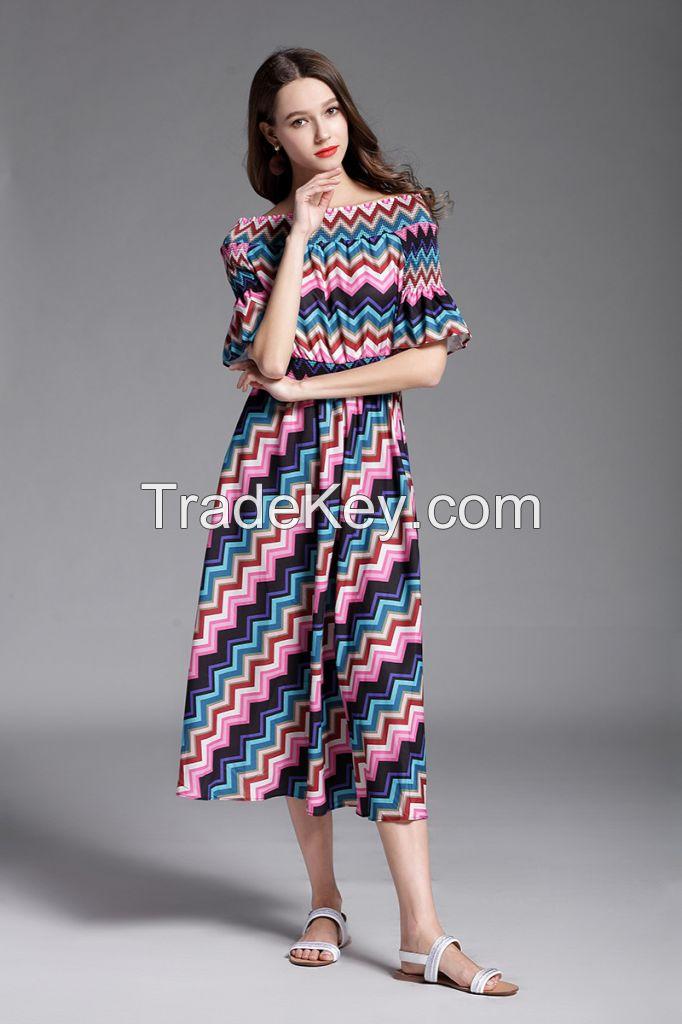 moozoi stripe boat neck short sleeve dress