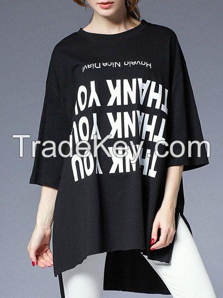moozoi asymmetrical plus size printed T-shirt