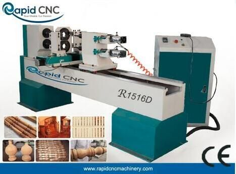 CNC wood lathe with Two Spindles Two Cutters  R1516D