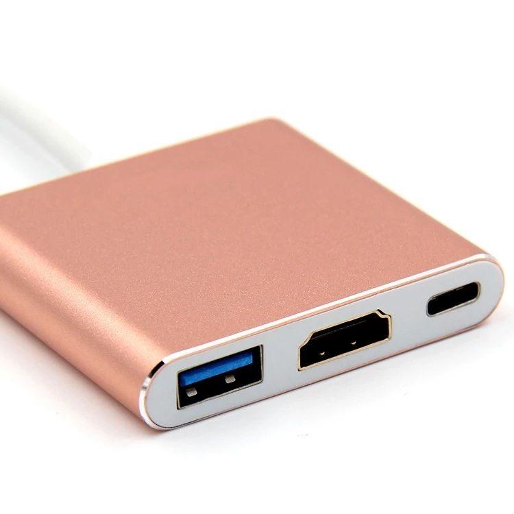 Type C to HDMI+3.0+USB-C Converter Adapter USB C Hub for MacBook ChromeBook