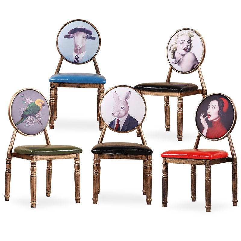 Iron Art Retro Style Vintage Armchair With High Elastic Sponge Cushion For Hotel/ Restaurant/ Bar/ Bookstore/ Living Room