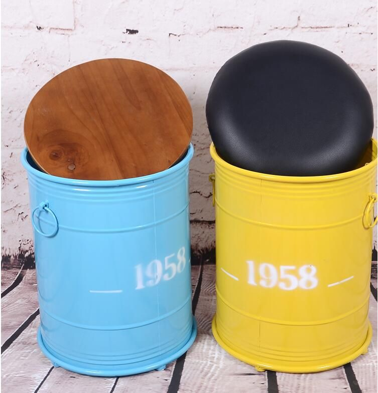 Fashion Retro England Style Iron Art Barrel Stool With PU Cushion With Large Storage Space For Bedroom/ Salon/ Restaurant/ Bar / Cafe